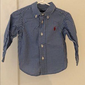 Ralph Lauren Baby Blue Check Dress Shirt 12M